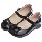 典雅淑女風格蝴蝶結鑽飾亮黑色公主鞋(20~24公分)