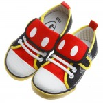 Disney迪士尼米奇黑色翻領造型帆布休閒鞋(15~20公分)