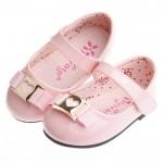 甜美娃娃粉紅色愛心扣環亮皮公主鞋(13~16公分)